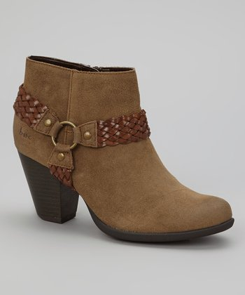 Taupe Suede Lacey Bootie