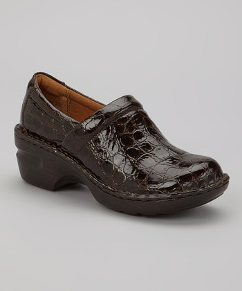 Brown Patent Croc Peggy Oxford Clog
