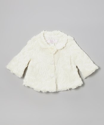 Ivory Sequin Flower Faux Fur Coat - Toddler & Girls