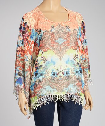 Floral Neon Lace-Trim Cape-Sleeve Tunic - Plus