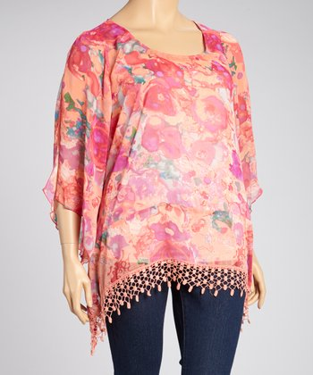 Coral Wonder Lace-Trim Cape-Sleeve Top - Plus