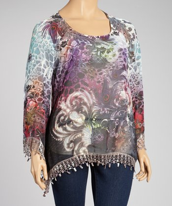 Leo Emboss Lace-Trim Cape-Sleeve Top - Plus