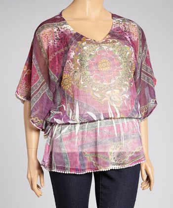 Purple Chain Sublimation Cape-Sleeve Top - Plus
