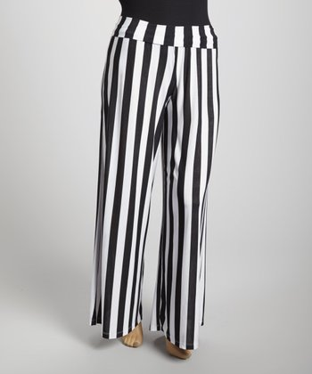 Black & White Stripe Palazzo Pants - Plus