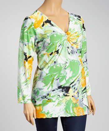 Green & Orange Floral Flood Top - Plus
