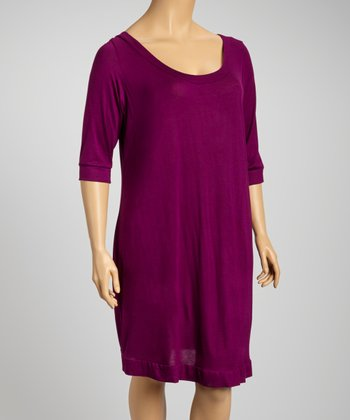 Plum Scoop Neck Dress - Plus