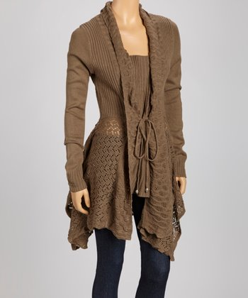 Brown Sidetail Tie Cardigan