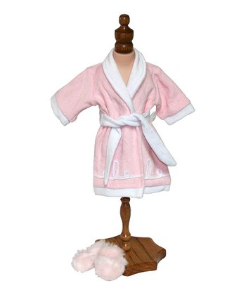 Soft Pink Robe & Fluffy Slippers Doll Outfit