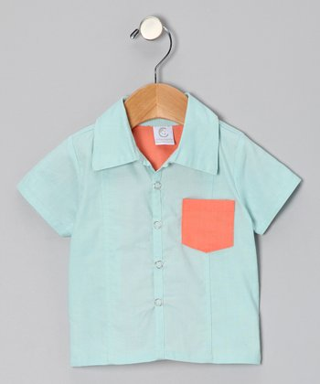 Mist Blue Brites Bowler Button-Up - Infant & Toddler