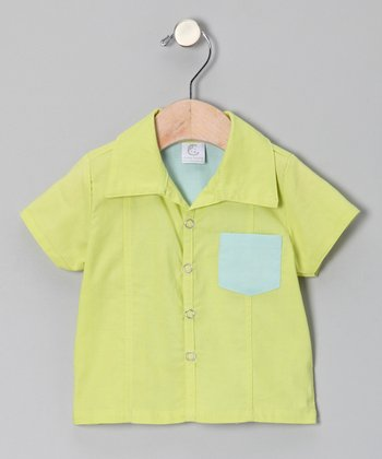 Lime Brites Bowler Button-Up - Infant & Toddler