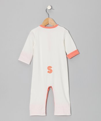 White & Coral Initial Playsuit - Infant & Toddler