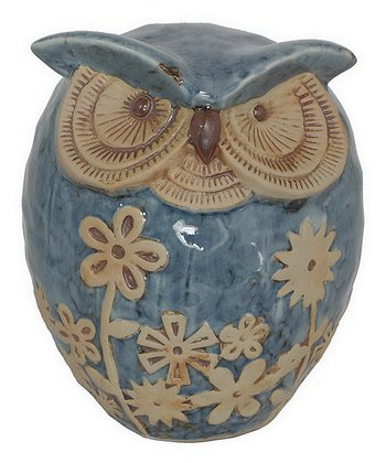 Blue & Cream Floral Owl Figurine