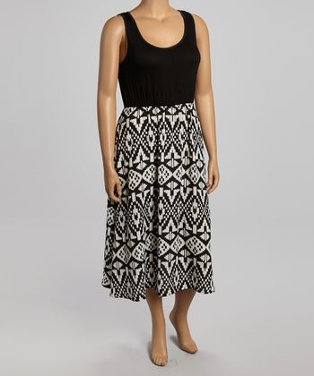 Black & White Tribal Sleeveless Dress - Plus
