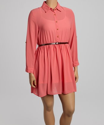 Coral Belted Button-Up Dress - Plus