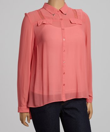 Coral Mesh Shoulder Button-Up - Plus