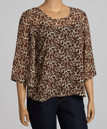 Khaki & Brown Leopard Bow Back Top - Plus