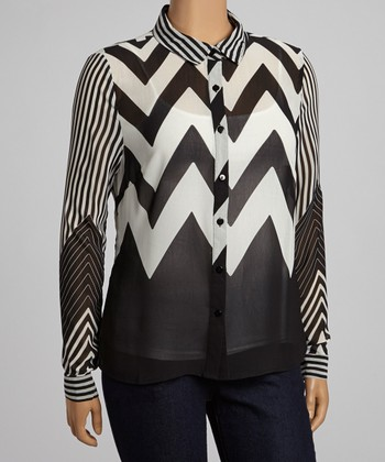 Black & White Zigzag Sheer Button-Up - Plus
