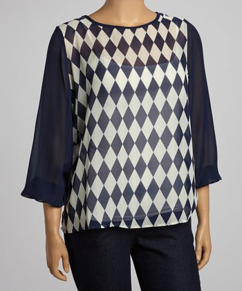 Navy & White Checkerboard Sheer Scoop Neck Top - Plus