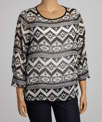 Black & White Tribal Peasant Sleeve Top - Plus