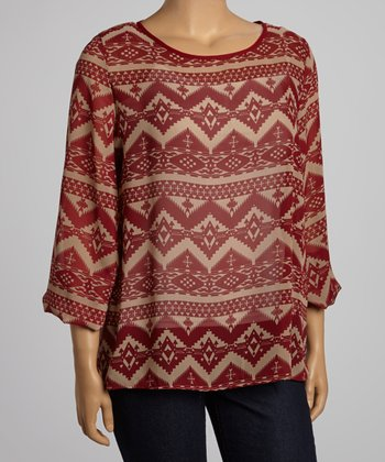 Red & Khaki Tribal Peasant Sleeve Top - Plus