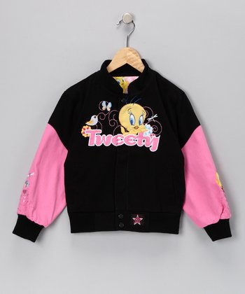 Black & Pink 'Tweety' Jacket - Toddler & Girls