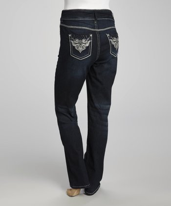 Blue Curvy Jeweled-Pocket Bootcut Jeans - Plus