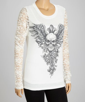 Ivory Skull Lace-Sleeve Top - Plus