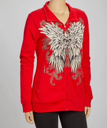 Red Fleur-de-Lis Track Jacket - Plus