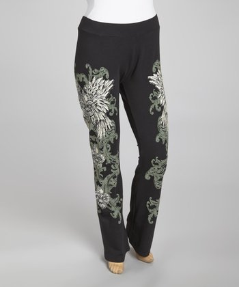 Black Fleur-de-Lis Lounge Pants - Plus
