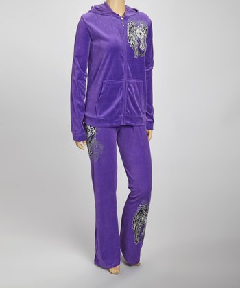 Purple Cross Hoodie & Lounge Pants Set - Plus