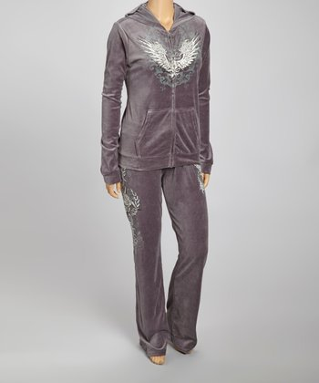 Charcoal Wings Hoodie & Lounge Pants Set - Plus