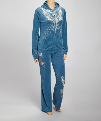 Teal Wings Hoodie & Lounge Pants Set - Plus