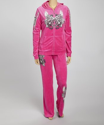 Hot Pink Tattoo Hoodie & Lounge Pants Set - Plus