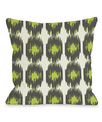 Gray & Green Ikat Payton Throw Pillow