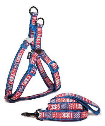 Blue & Red Sweater Print Harness & Leash