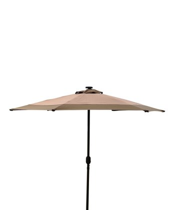 Khaki & Brown Solar LED Market Umbrella