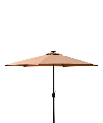 Khaki Solar LED Market Umbrella