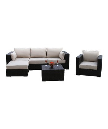 Dark Brown Outdoor Modular Six-Piece Seating Set