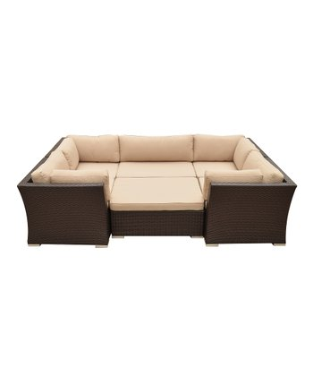 Dark Brown Wicker Outdoor Six-Piece Seating Set