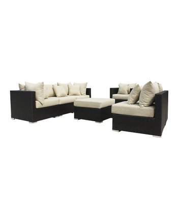 Dark Brown Outdoor Seven-Piece Seating Set