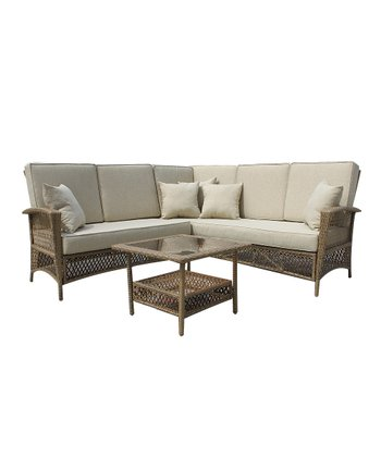 Light Brown Wicker Outdoor Three-Piece Chair & Table Set
