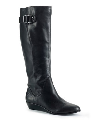 Black Leather Wide-Calf Talise Boot