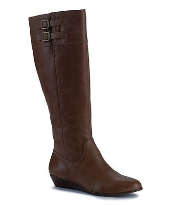 Brown Leather Wide-Calf Talise Boot