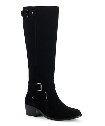 Black Suede Wide Calf Belina Boot