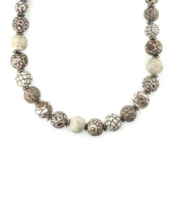 Silver & Brown Latte Bead Stretch Necklace