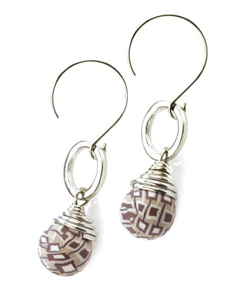 Silver & Brown Latte Bead Drop Earrings