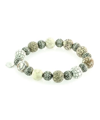Silver & Brown Latte Bead Stretch Bracelet