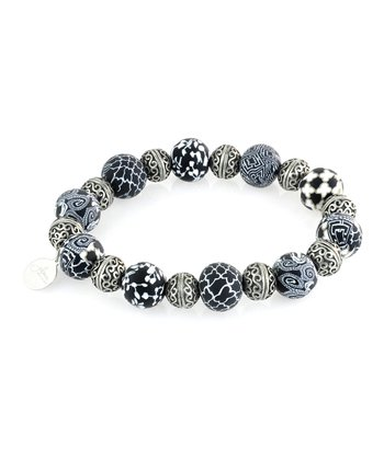 Black & White Bali Bead Stretch Bracelet