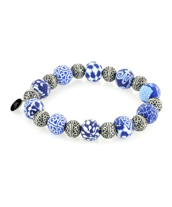 Navy Bali Bead Stretch Bracelet
