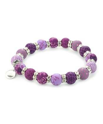 Lilac Bead Crystal Stretch Bracelet